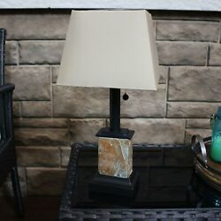 Sunnydaze Outdoor Small Square Natural Slate Solar Table Lamp Light 16quot; $62.95