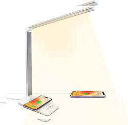 LED Desk Lamps with Wireless Charger Light USB Charging White $43.25