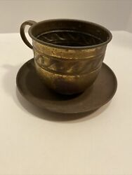 Old Brass Cup And Saucer. Big Vintage $14.00