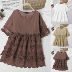 Women Cotton Vintage Summer Top Layered Floral Lace Casual Tee Shirt Blouse Plus $14.09