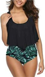 SouqFone Tankini Swimsuits for Women Ruched Padded 09black Leaf Size Large $9.99