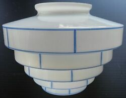 ART DECO STEPPED DOME WHITE amp; BLUE CEILING SHADE LOOK $237.50
