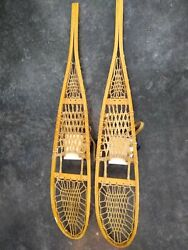 GREAT VINTAGE TUBBS VERMONT WOOD SNOW SHOES 10X56 w BINDINGS amp; RAWHIDE LACING $141.00