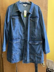 Lane Bryant Long Jean Jacket Size 24 New With Tags $45.00