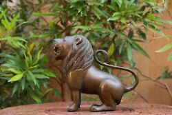 Lion Statue Brass Antique Home Decor Animal Sculpture Rare Collectibles Vintage $130.00