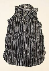Fun2Fun Women#x27;s Mackenzie Split Neck Striped Sleeveless Top DG4 Navy Small NWT $12.74