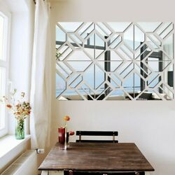 Home Mirror Wall Stickers Mosaic Reflective Silver Waterproof Practical C $19.99