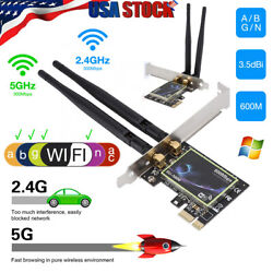 600Mbps PCI E Wireless WiFi Card 2.4G 5G Dual Band Network Adapter For Desktop $14.99