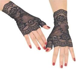 Orcle Women#x27;s Short Lace Gloves Fingerless for Driving Black#1 Size One Size Z $9.99
