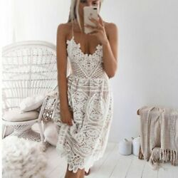 Beach Long Cover Up White Lace Swimsuit Summer Beachwear Bathing Suit Dress $36.85