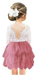 2Bunnies Girl Rose Lace Back A Line Straight Tutu Tulle Party Red Size 6.0 A2q $9.99