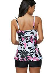 Zando Vintage Floral Printed Tankini Swimsuits for Women with Pink Size 10.0 S $9.99