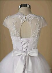 Tulle Lace Flower Girl Dress Pageant Maxi Dresses for Girls White Size 8.0 sMP $30.50