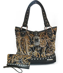 Montana West Tapestry amp; Mini Crystal Tote Wallet Black $42.99