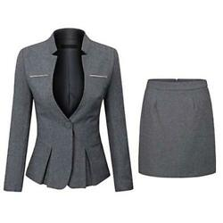 Women#x27;s 2 Piece Business Skirt Suit Set Blazer and Skirt dark Gray Size Large $24.00
