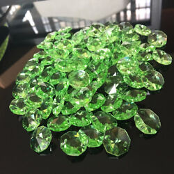 50Pc Green Octagon Glass Beads CRYSTAL Chandelier Prisms Chain Part SUNCATCHER $7.89