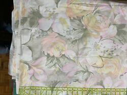 5 yds cotton floral very large scale roses on white background $20.00