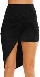 Sexy Mini Skirts for Women Bodycon High Waisted Boho High Black Size X Large J $13.99