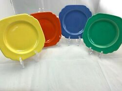 VTG. 1940'S HOMER LAUGHLIN CO RIVIERA POTTERY 6.25quot; SQ BREAD PLATE IN 4 COLORS $10.00