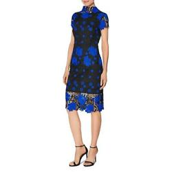 Laundry by Shelli Segal Womens Blue Lace Cap Sleeves Cocktail Dress 10 BHFO 2896 $26.99