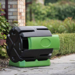 Hot Frog 37 Gal. Recycled Plastic Compost Tumbler Black amp; Green $96.85
