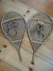 EXCELLENT Vintage BEAR PAW SNOWSHOES 34x18 Snow Shoes LEATHER BINDINGS NICE $125.00