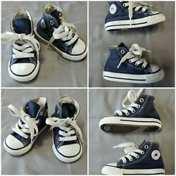 Converse All Star Toddler Boy#x27;s Size 4 Navy Blue High Top Shoes $18.95