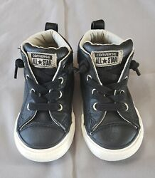 Converse All Star Toddler Boy#x27;s Size 6 Black Leather Mid Shoes Tan Lining $17.95