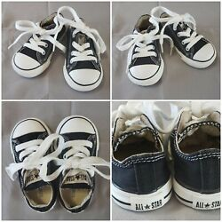 Converse All Star Toddler Boy#x27;s Girl#x27;s Size 5 Black Low Shoes $13.95