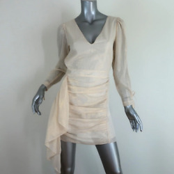 RHODE Mini Dress Piper Cream Gold Ruffled Lurex Striped Cotton Size Extra Small $220.00