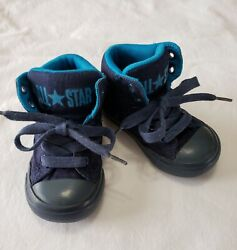 Converse All Star Toddler Boy#x27;s Size 6 Blue Mid Cushioned Easy On Shoes $12.95