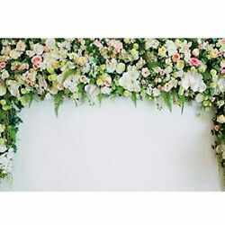 Haoyiyi 7x5ft Wedding Backdrop Sheer Tulle White Curtain Green Ivy Wall Flowers $27.98