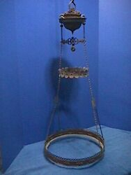 ANTIQUE Victorian HANGING Oil Lamp ORNATE Brass LIBRARY Ceiling PARTS 15F $129.00