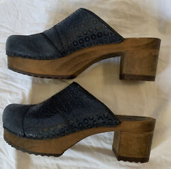 SANITA Blue Leather Platform Wooden Danish Clogs 38 7 7.5 $39.99