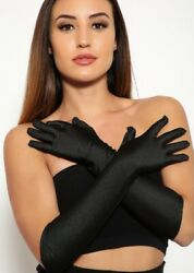 "Womens ""Satin"" Black Evening Gloves Elbow Length Wedding Opera Gloves $14.00"