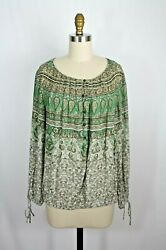 Lucky Brand Green Floral Boho Peasant Blouse Wrist Ties L New $29.99