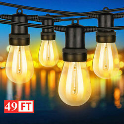 49ft Outdoor String Lights Waterproof Commercial Patio Globe Fairy Light Bulbs