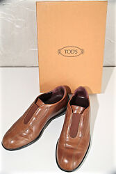 Luxurious Mocassin Without Shoelaces Brown Leather Tod#x27;s Benson Size 355 Boxed $75.93