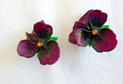1950#x27;s Vintage Earrings Pansy Flowers Rhinestone Centers Clip on Style W Germany $9.95