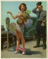 Vintage 1951 Art Frahm No Time to Lose Cheesecake Pin Up Print Embarrassment $46.50