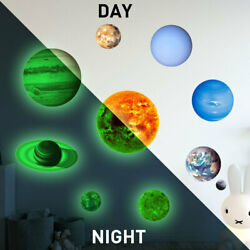 Glow In The Dark Luminous Stars And Moon Planet Space Wall Stickers Kids Bedroom $12.90