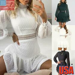 Womens Lace Ruffle Frill Mini Dress Ladies Summer Evening Party Cocktail Dresses $20.59