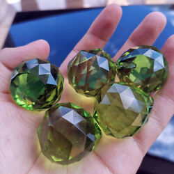 5PC Green Lighting Ball Crystal Faceted Cut Prism Suncatcher Chandelier Hanging $7.59