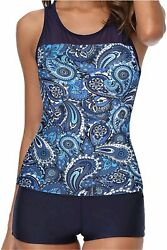 Yonique Racerback Tankini Swimsuits for Women with Shorts Blue Size Medium NMz $13.08