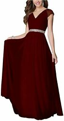 Aox Women Formal Party Cocktail Chiffon Dress Rhinestone Red Wine Size 3.0 TFj $22.49
