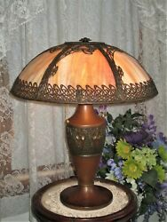 ANTIQUE SLAG GLASS 6 PANEL ELECTRIC TABLE LAMP MARKED MLCo $925.00