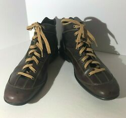 Cole Haan Hybrid Mens 12 M Brown High Top Leather Fashion Sneakers VGUC RARE $49.95