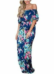Happy Sailed Women Floral Print Off Shoulder Maxi Dresses Blue Size X Large tM $15.25