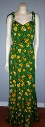 Collectif London Floral Dress Maxi Boho Green Tie Top Straps Belted Medium $35.00