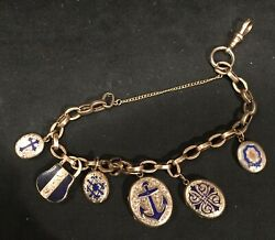 Wonderful Victorian 10k Gold Blue Enamel Locket Mourning Bracelet $1395.00